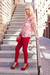 Beautiful woman posing stairs