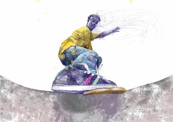 skateboarder - hand drawing