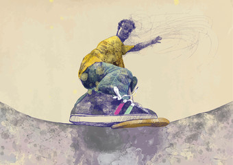 skateboarder - hand drawing