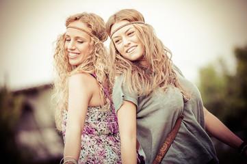 Two Beautiful Hippie Woman Dancing in the Countryside