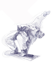 snowboarder - hand drawing, blue sketch