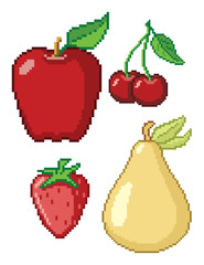 Spoed Foto op Canvas Pixel 8-Bit Fruit Icons