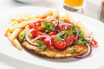 Frittata with tomato salad