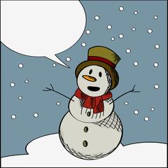 Happy snowman text card