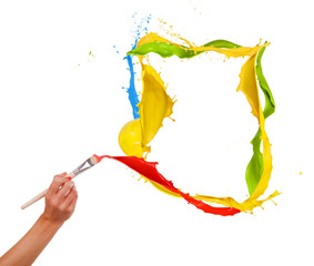 Woman hand painting splashes frame on white background