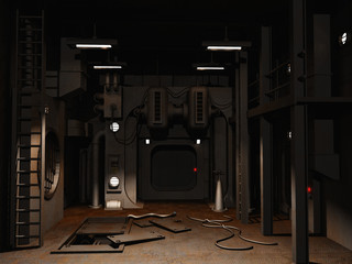Empty scifi room with open service hatch