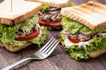 Fresh made Tuna Sandwiches on wood