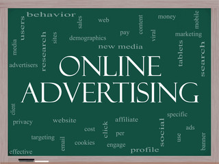 Online Advertising Word Cloud Concept on a Blackboard