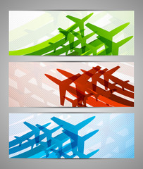 Set of banners with airplanes