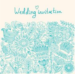 Fototapete - Wedding floral invitation