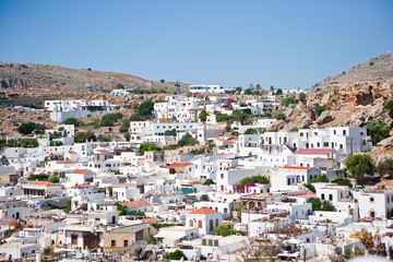 view of the town of Lindos, Rhodes Island, Greece