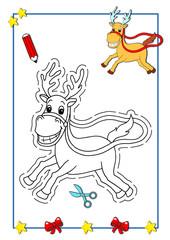 Natale da colorare, la renna