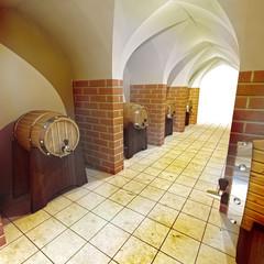 barrels of alcohol drink underground cellar
