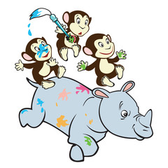 three cute monkeys riding rhino