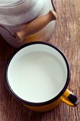 milk in tin mug