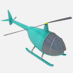 isolated cyan blue city helicopter at flight illustration