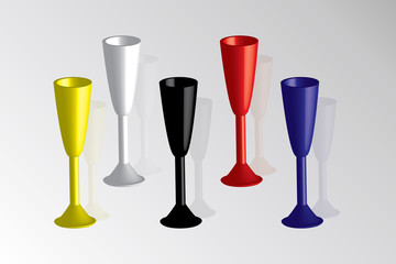 colored glasses for champagne