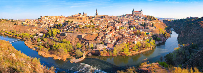 Panoramic view of the city of Toledo in Castile-La Mancha, Spain