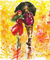Autumn walk-watercolors