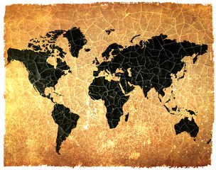 Antique world map on grunge cracked paper