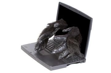 Gorilla within  repairing computer