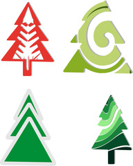Icons four Christmas trees