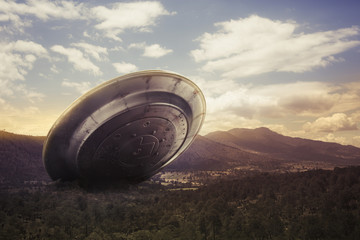Printed roller blinds UFO UFO crashing on a valley