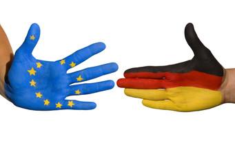 Europäisch-deutsche Beziehungen symbolisch dargestellt