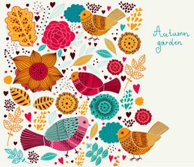 Fototapete - Vector floral background