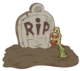 Hand zombie crawls out of the grave and wrote R.I.P.