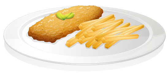 French fries and cutlet