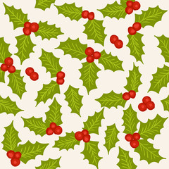 Holly seamless pattern