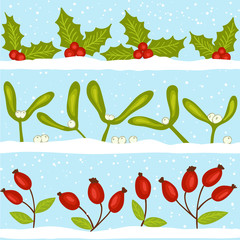 Christmas seamless pattern with snow