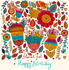 Fototapete - Vector floral card with Happy Birthday wishes