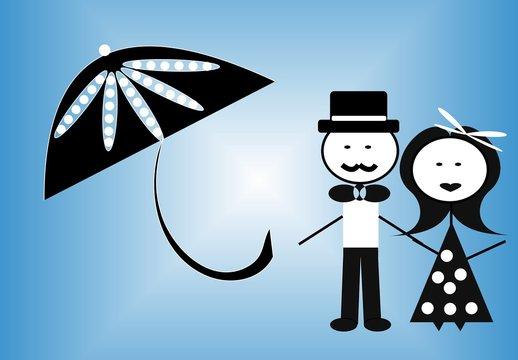 A couple with an umbrella