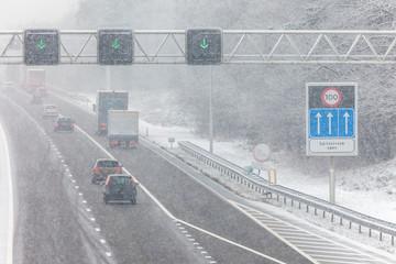 Dutch highway during winter snow