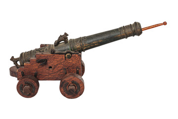 Medieval miniature canon isolated on white