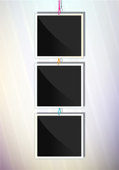 Three square frames. Vertical illustration.