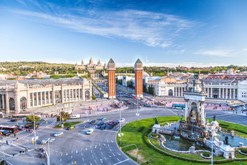 Zelfklevend Fotobehang Barcelona view of the center of Barcelona. Spain