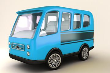 illustration of 3d image of mimi bus against white
