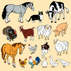 vector set with domestic animals