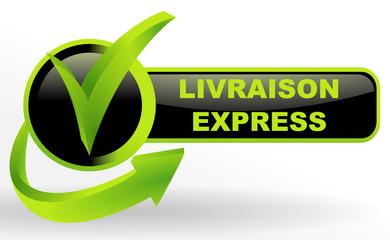 Wall Mural - livraison express sur bouton validé vert et noir