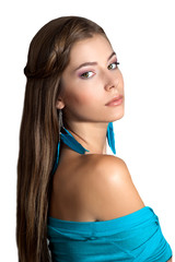 Beautiful woman with long straight hair.Earrings made of feather