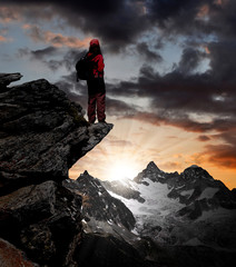 girl looking at the  Mount Ober Gabelhorn in the Swiss
