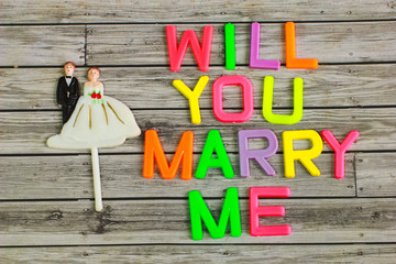 wedding bride and groom couple doll with will you marry me color