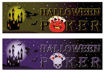Two halloween poker banners, vector illustration