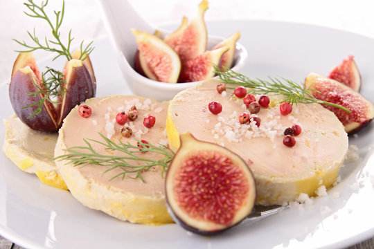 plate with foie gras and fresh fig