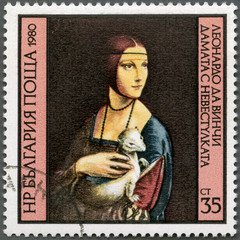 "BULGARIA - 1980: ""Lady with the Ermine"" by Leonardo da Vinci"