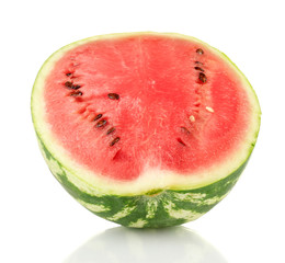 Half of juicy watermelon isolated on white