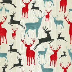 Christmas wooden reindeer pattern